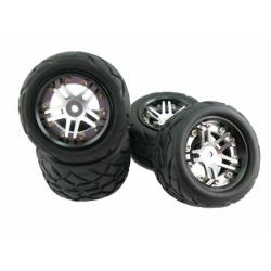 TopCad 5 spoke Alloy Wheel & Tire set for Traxxas E-Revo 1/16