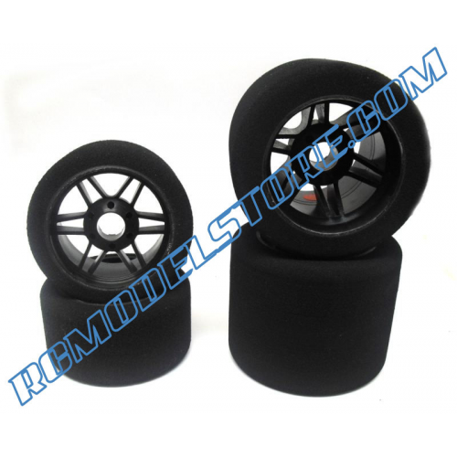 Hot Race Front/Rear 1/8 On/Road Tires on Rims Carbon 32/35 Shore