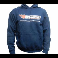 RcModelStore Felpa con cappuccio Blu con loghi fronte/retro (L)
