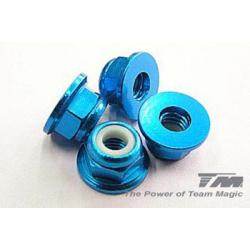 Dadi autobloccanti 4mm flangiati (blu)