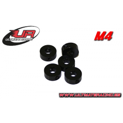 Ultimate Racing 4mm Aluminium Stoppers Black (5pcs)