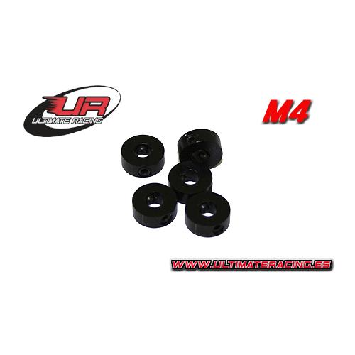 Ultimate Racing 4mm Aluminium Stoppers Black (5pcs)