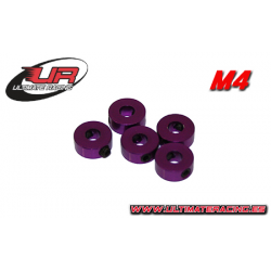 Ultimate Racing 4mm Aluminium Stoppers Purple (5pcs)