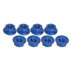3 Racing 4mm Aluminum Locknut Serrated (8pcs) - Blue