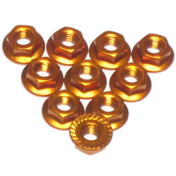 3 Racing 4mm Aluminum Locknut Serrated (8pcs) - Orange