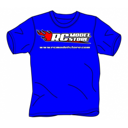 RcModelStore Blu Royal T-Shirt with logo Front and Rear (S Size)