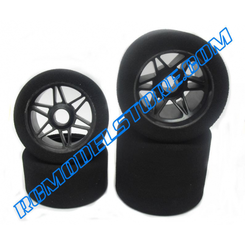 "Matrix Rear 1/8 On/Road Tires on Rims ""Carbon K"" 40 Shore"