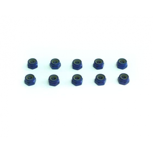 Xceed 4mm Aluminum Lock Nuts Blue (10 Pcs)